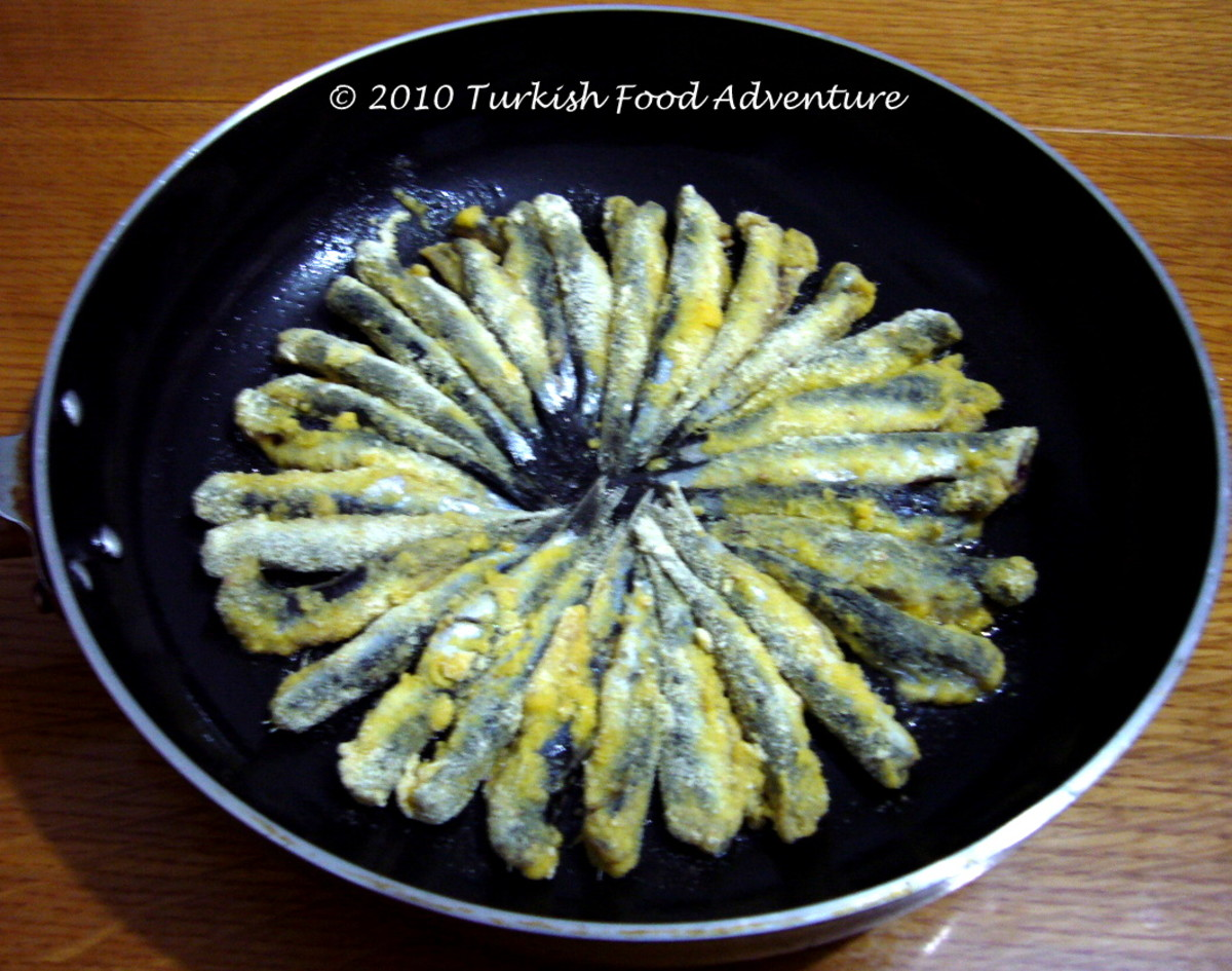 Anchovies coated with corn flour mixture.