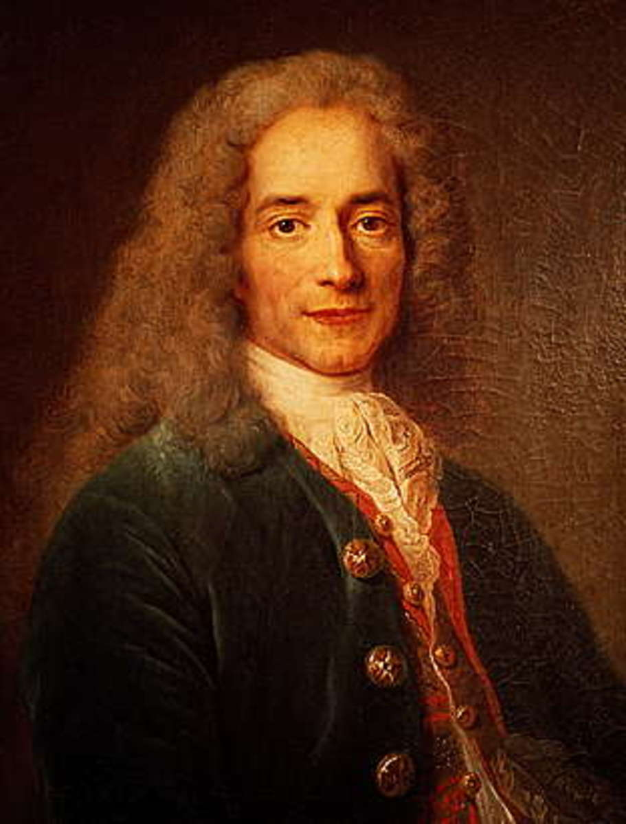 Voltaire was the pen name of philosopher and writer Franois-Marie Aroue (pictured above) who was born November 21, 1694 and died May 30, 1778.