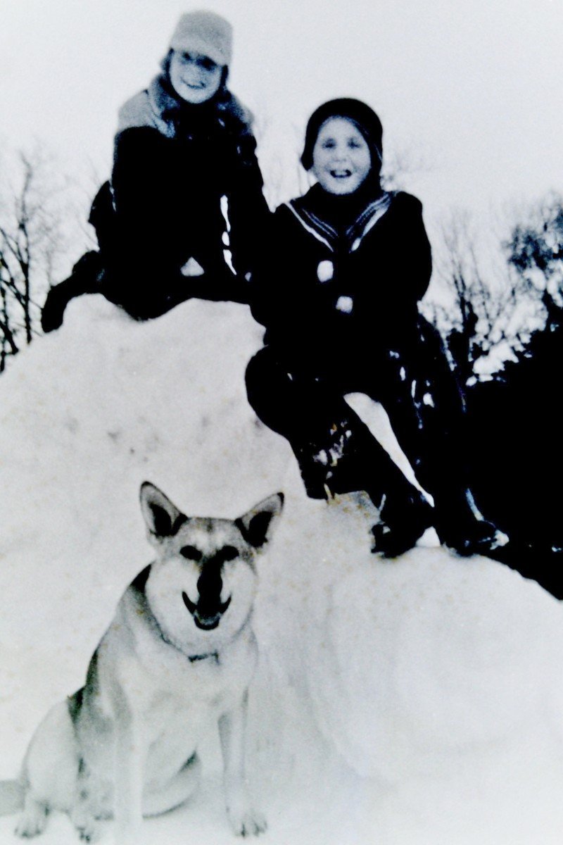 My brothers Jimmy & Johnny (as they were known back then) playing in the snow in Wisconsin - 1950s with family dog Sheba.