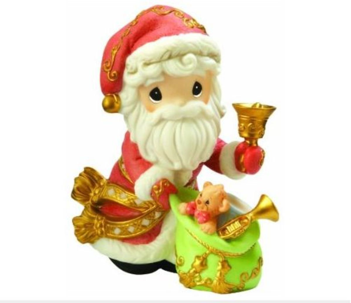"""Santa Precious Moments Figurine """"May Your Christmas Ring With Joy"""""""