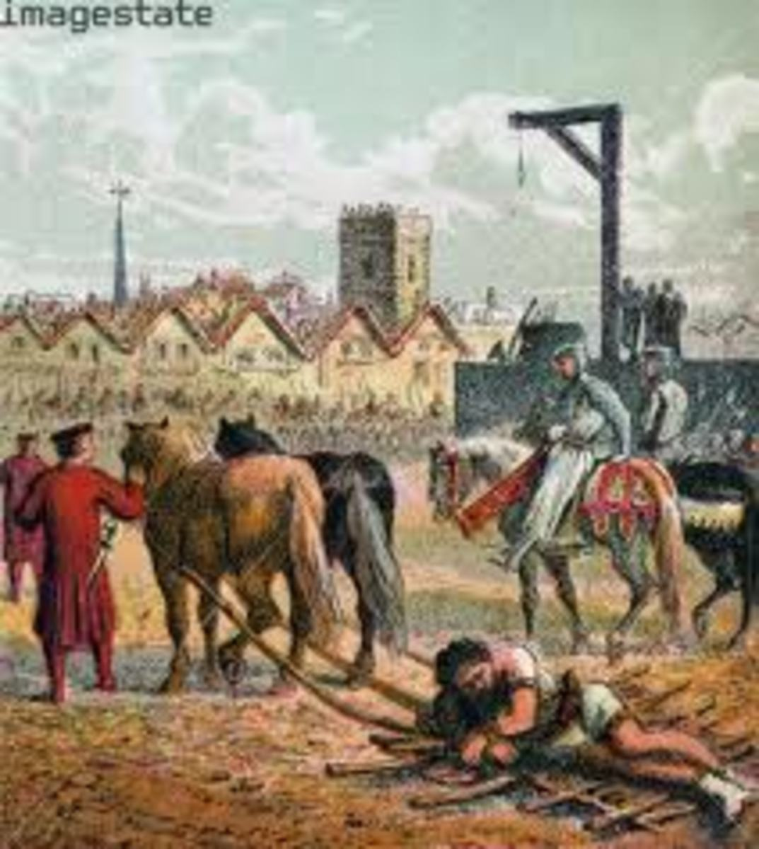 Artist's depiction of William Wallace being dragged through the streets of London.by two horses