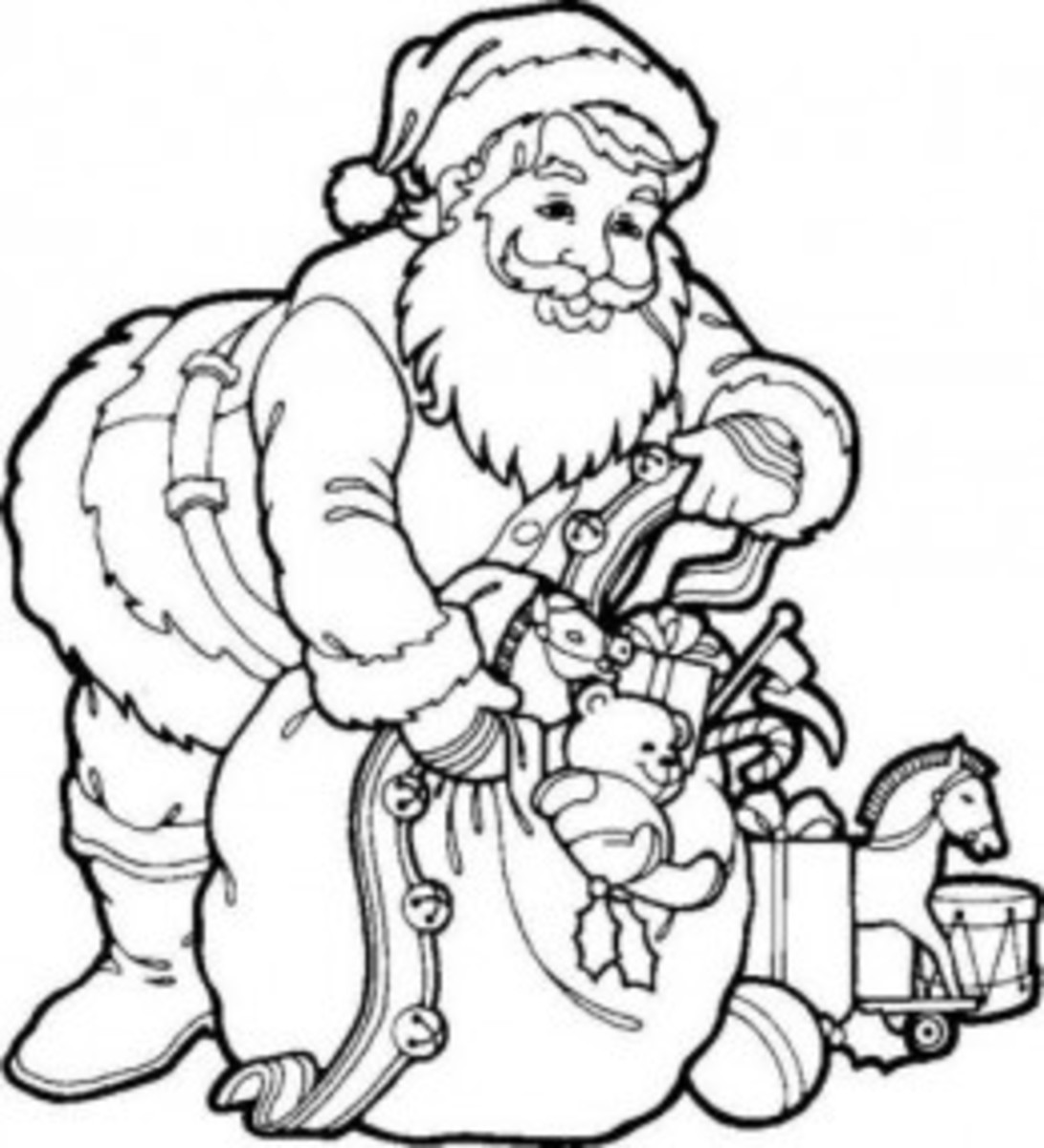 Santa Claus Coloring Pages Free Colouring Pictures to Print - loading the bag