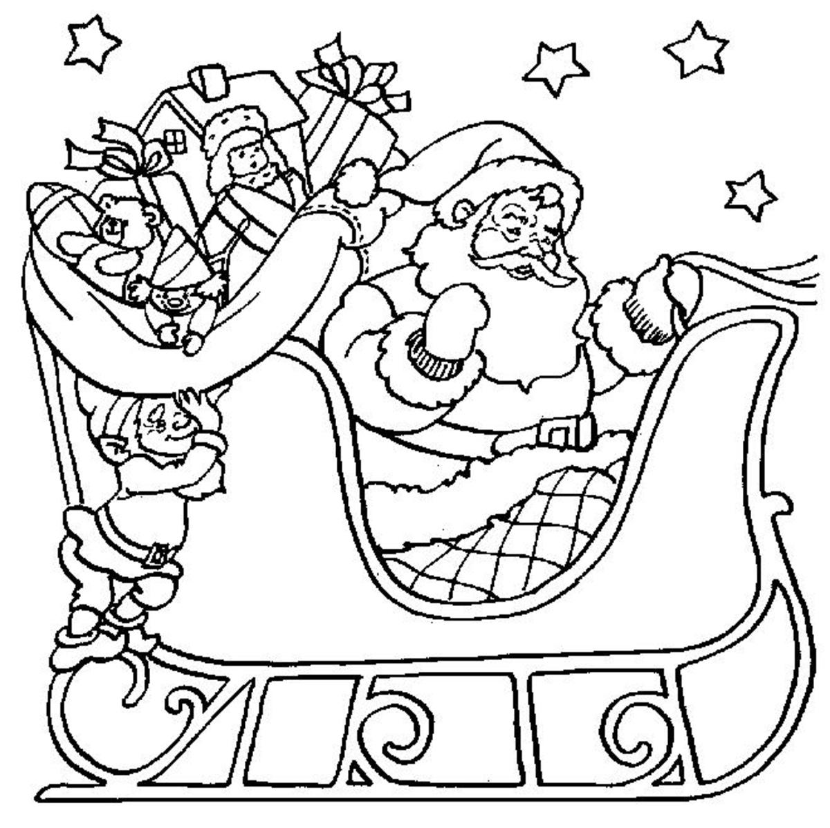 Santa Claus Coloring Pages Free Colouring Pictures to Print - sleigh time