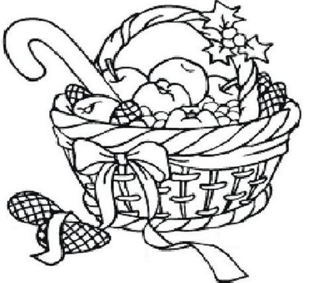 Santa Claus Coloring Pages Free Colouring Pictures to Print - Christmas basket