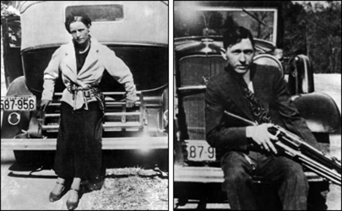 Bonnie and Clyde posing - just for fun