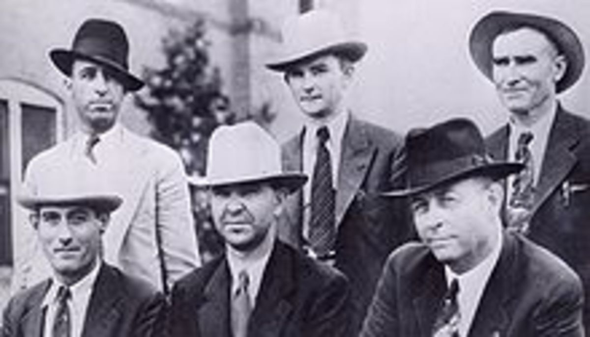 Barrow Death Posse 1934.  Top: Hinton, Oakley, Gault.  Seated: Alcorn, Jordan, Hamer