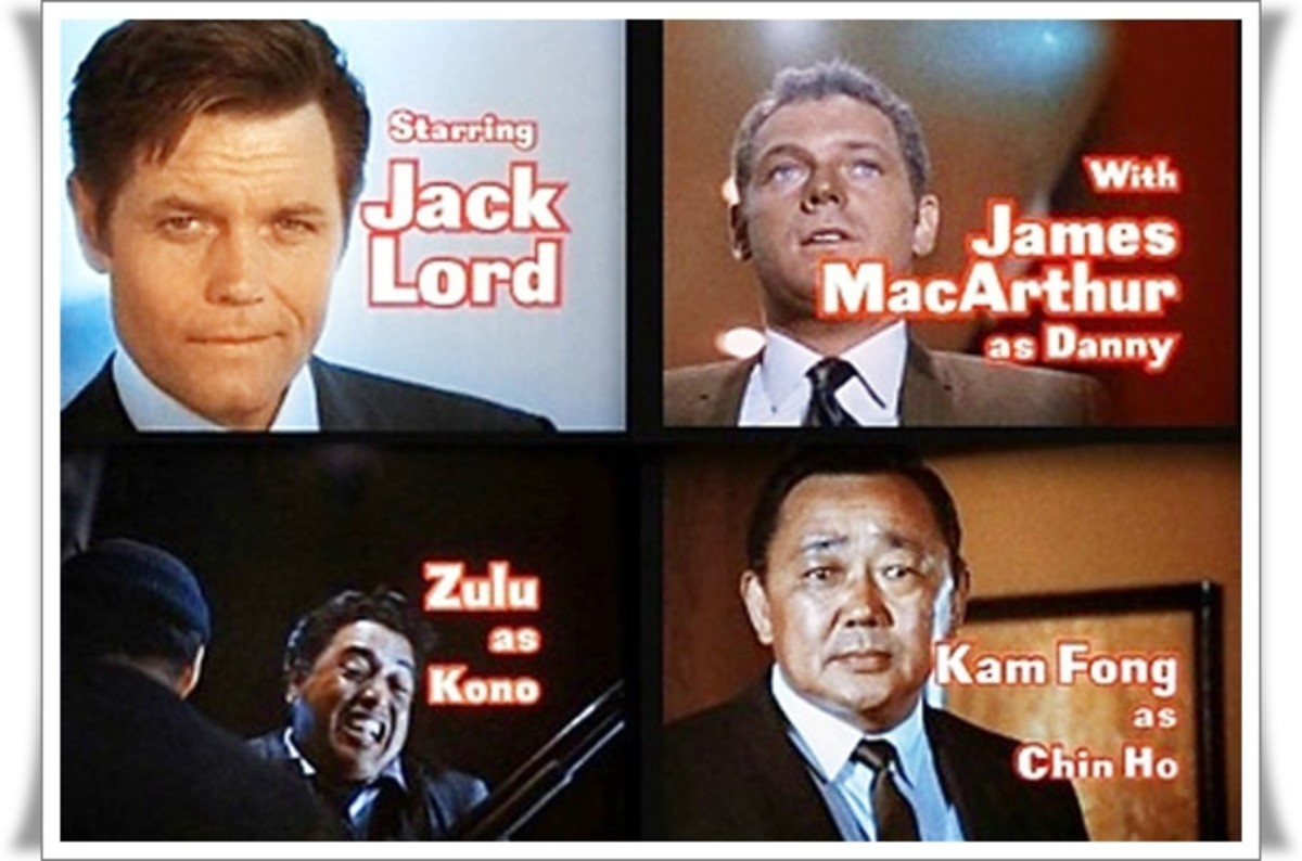 Jack Lord as Steve MacGarrett, James MacArthur as Danny Danno Williams, Kam Fong as Chin Ho Kelly, and Zulu as Kono Kalakaua