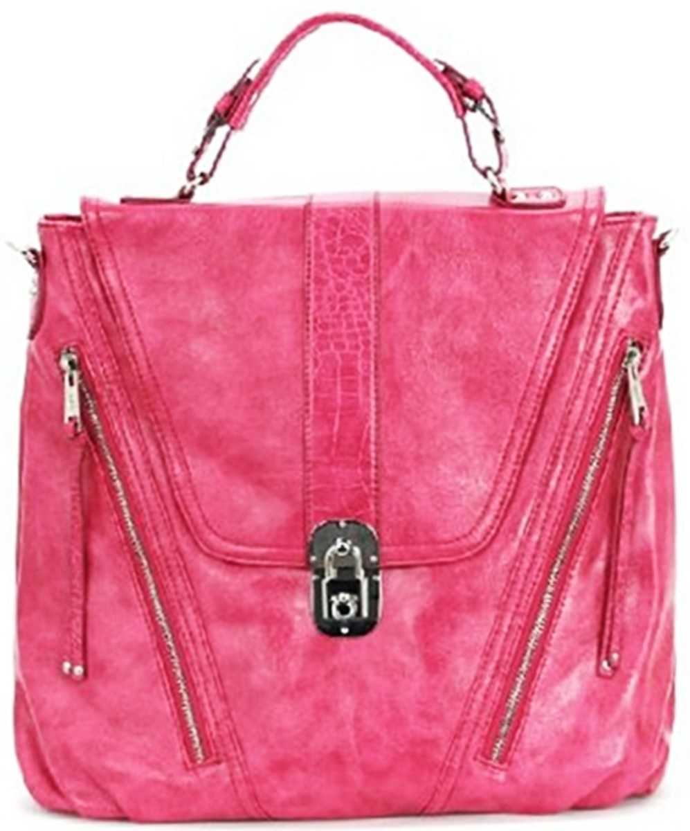 Melie Bianco Top Handle Bag with Front Flap and Lock - Fuchsia - 2013 Best Gift Ideas for Women - Fashion Accessories, by Rosie2010