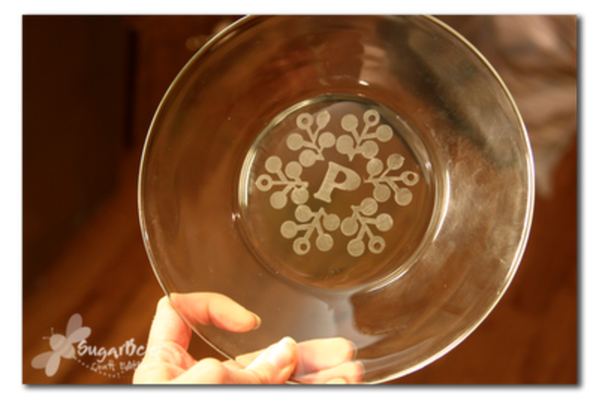 glass plate with etched snowflake design