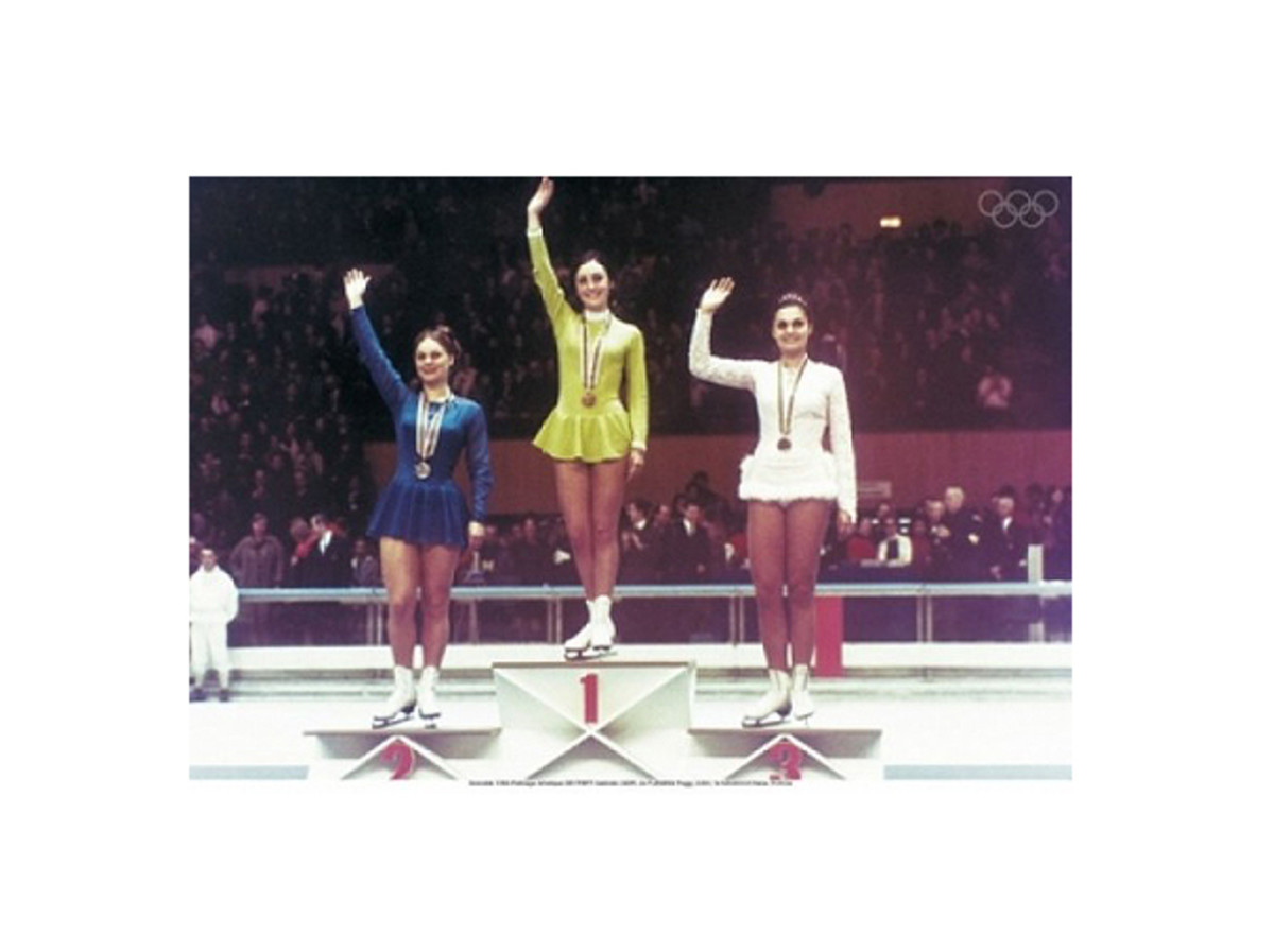 Peggy Fleming at the 1968 Olympic Medal Ceremony