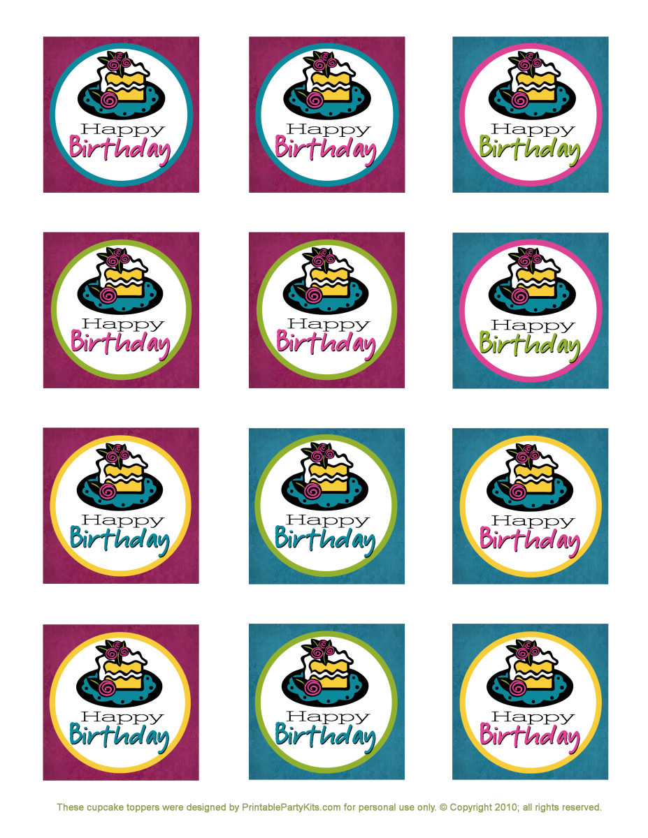 Free square printable blue, pink, green and yellow cupcake toppers