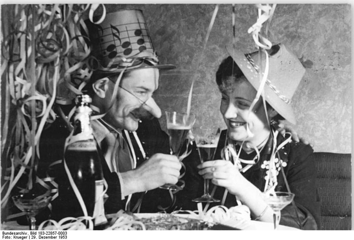 New Year's toast, Germany, 1953 - photo from Wikimedia commons