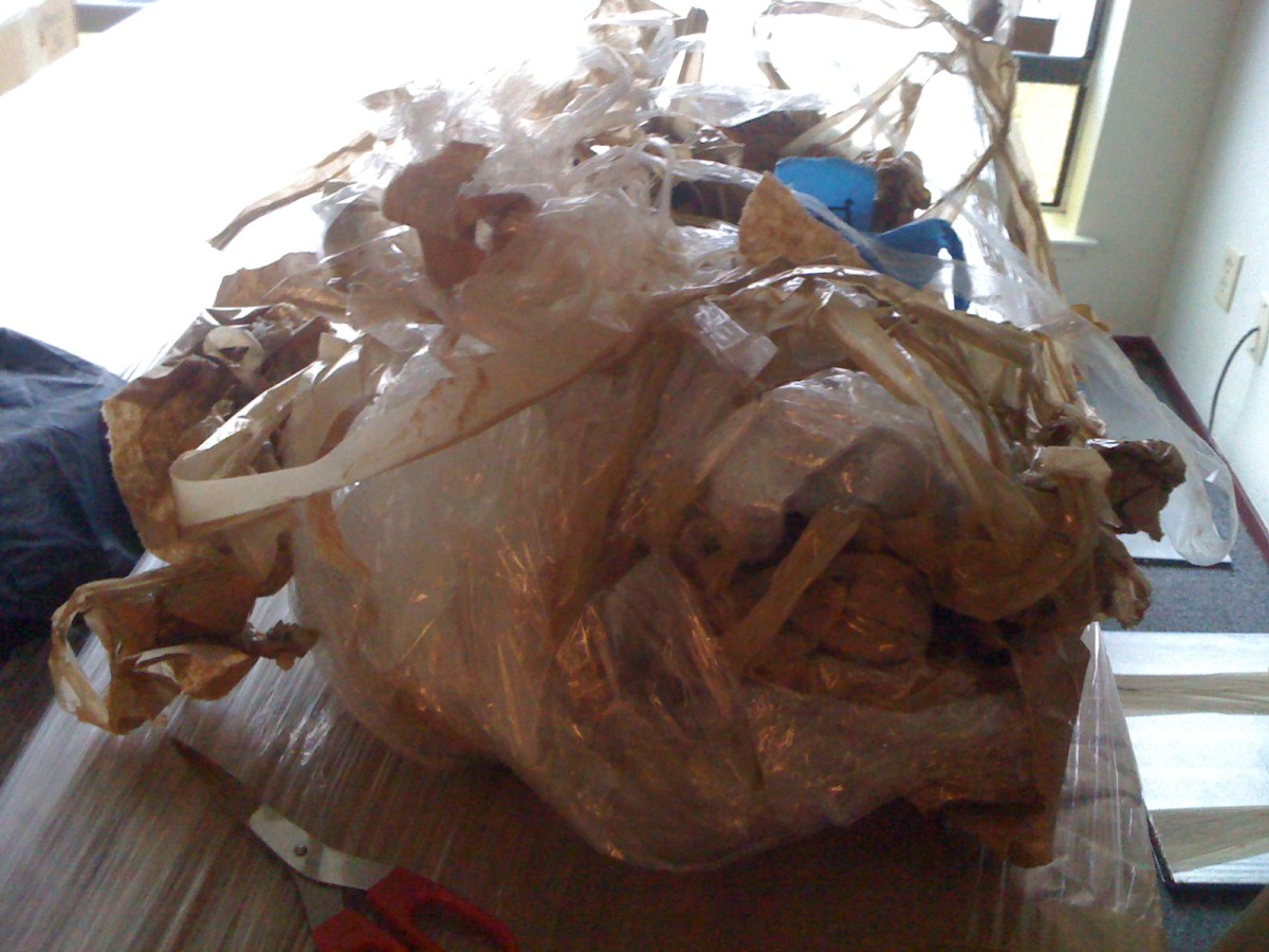 giant wad of tape and plastic yuck