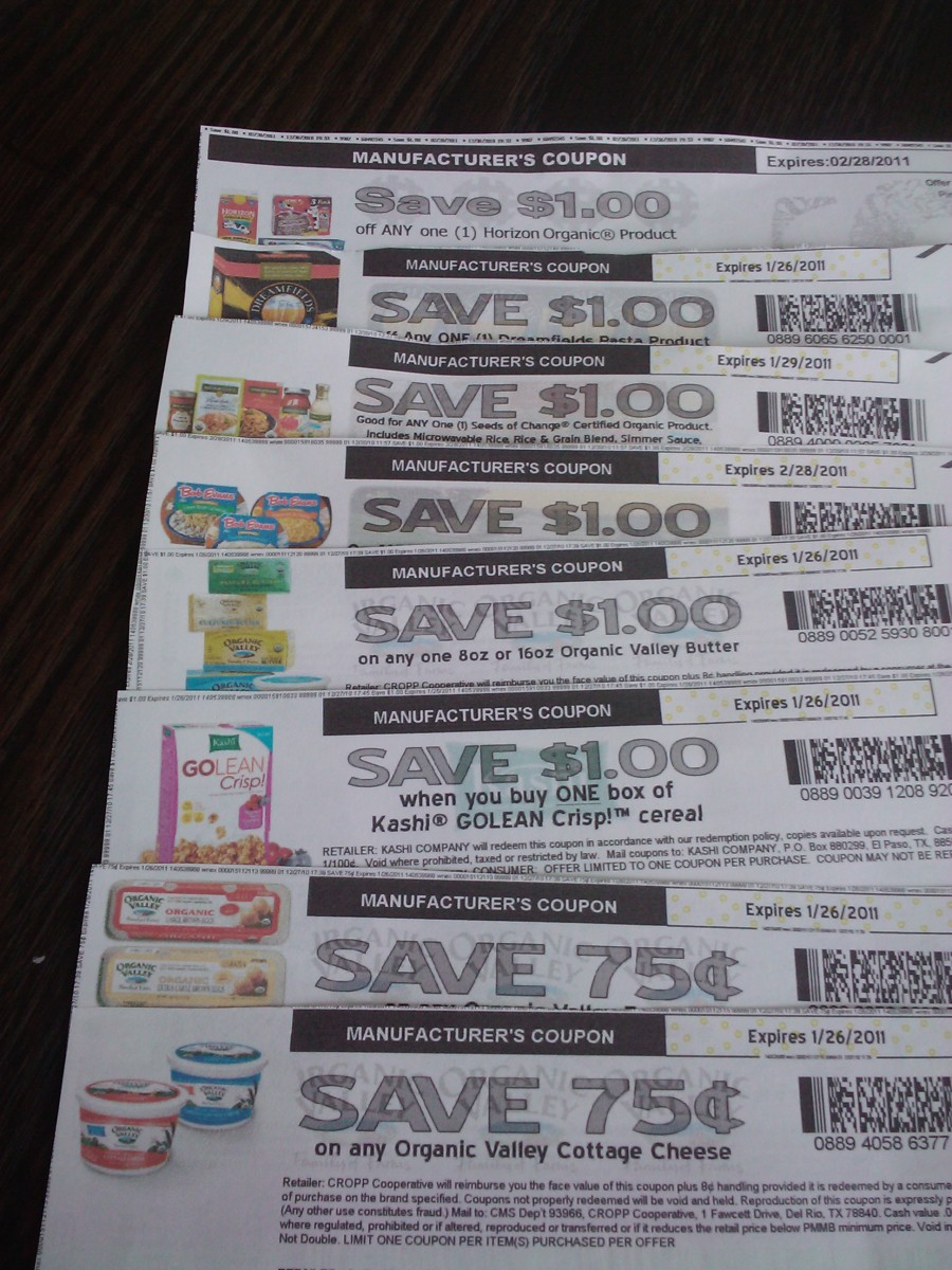 These coupons were printed from manufacturer's sites.