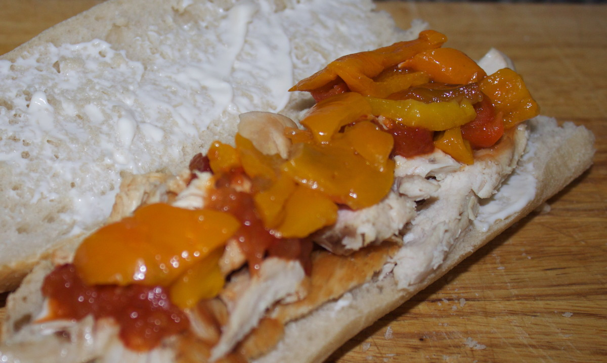 Fresh Baguettes With Chicken and Roast Peppers