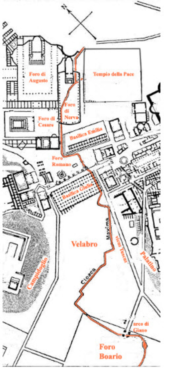 Map Showing the Location of Roman Sewer Lines in Rome