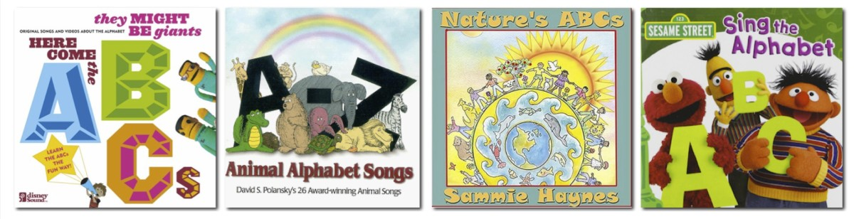 Here Come the ABCs by They Might Be Giants, A-Z Animal Alphabet Songs by David S. Polansky, Nature's ABCs by Sammie Haynes, and Sesame Street's Sing the Alphabet. All at