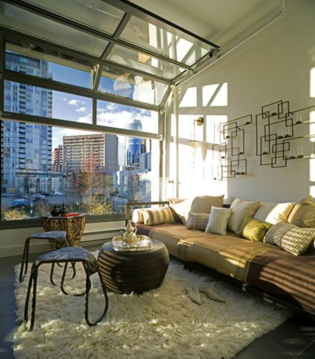 glass garage door used for a living room