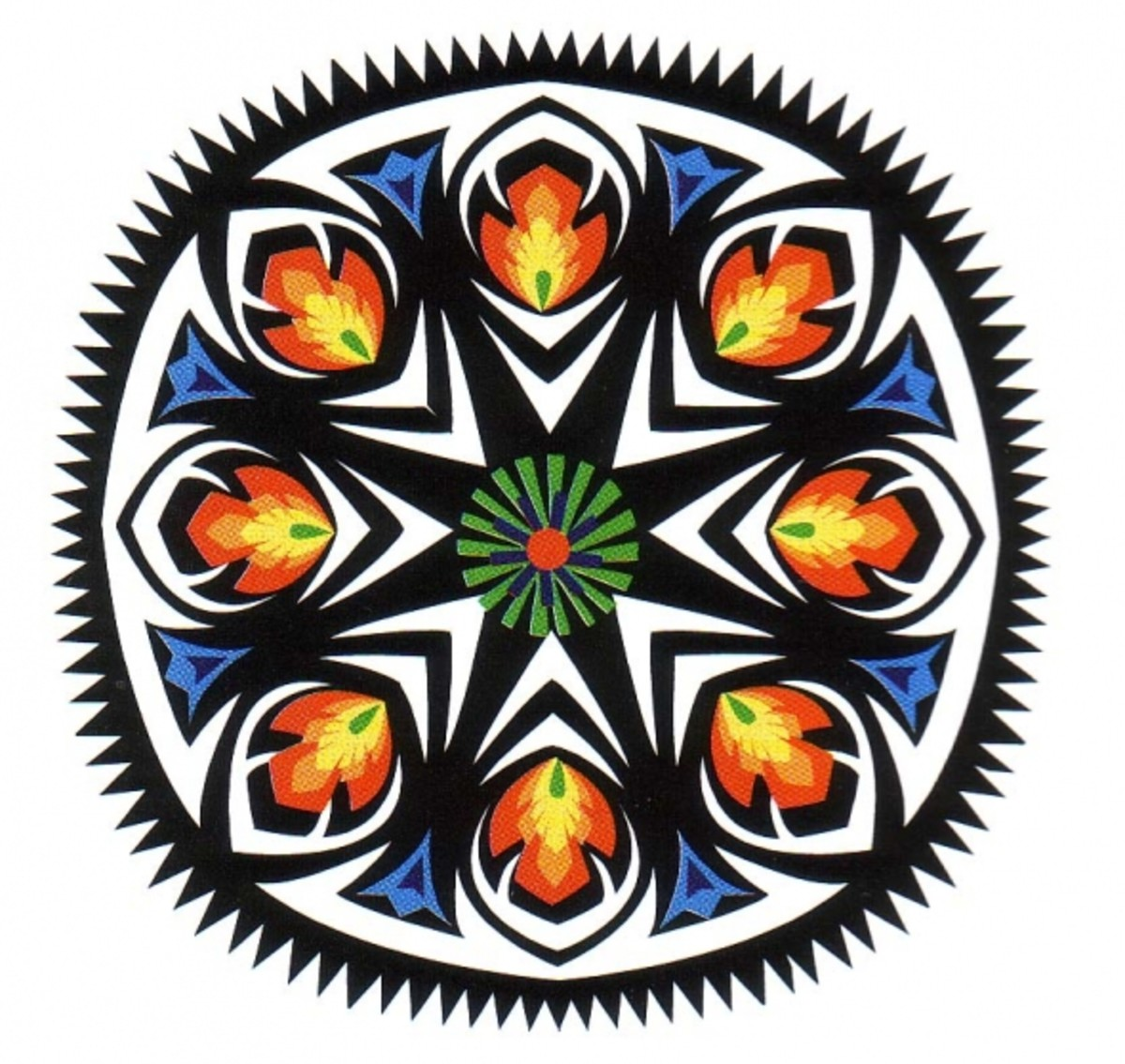 This is an example of a multicolored Gwiazda (GVYA-zdah) design with 8 repeats. Multicolored Gwiazda design are traditional to the Lowicz region of Poland.