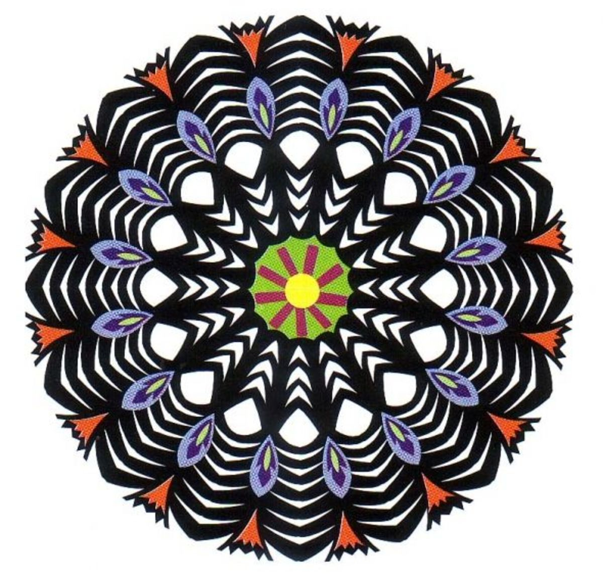 This is an example of a multicolored Gwiazda (GVYA-zdah) design with 16 repeats. Multicolored Gwiazda design are traditional to the Lowicz region of Poland.