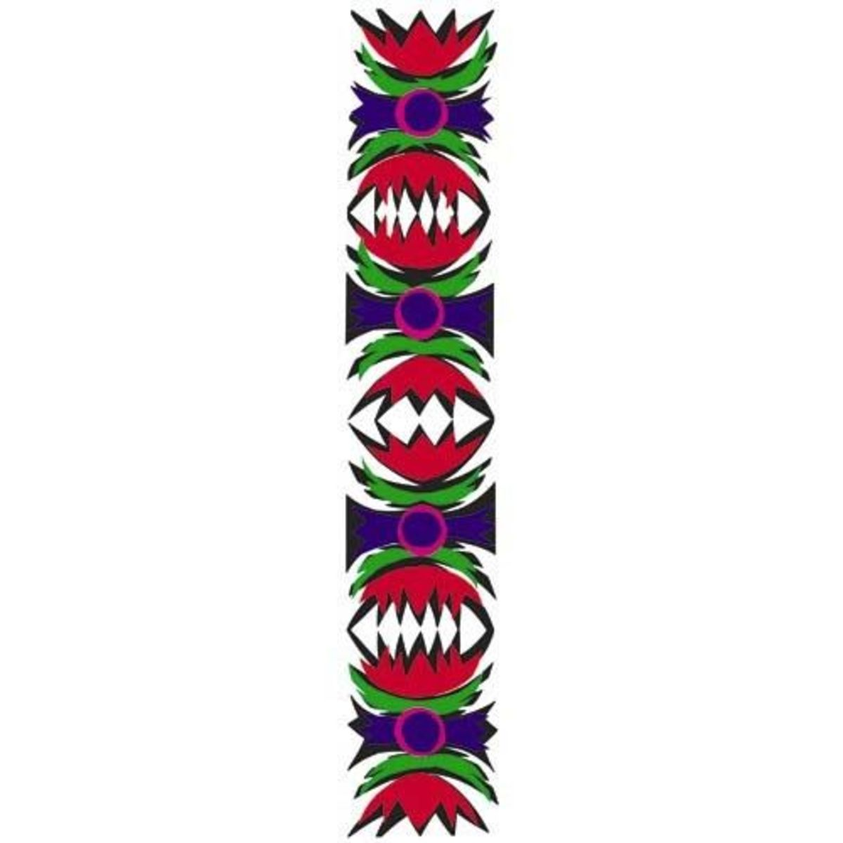 The ribbon-like Wstega (FSTENG-gah) design has eight repeats and comes from the Rawa and Opoczno regions of Poland. This design may be in a single color or multicolored (such as this example).