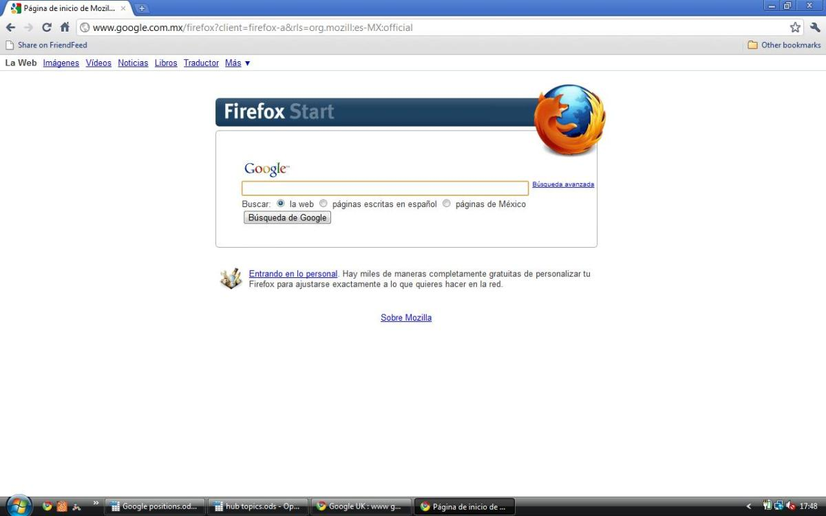 Google Mexico (Firefox version) in Spanish