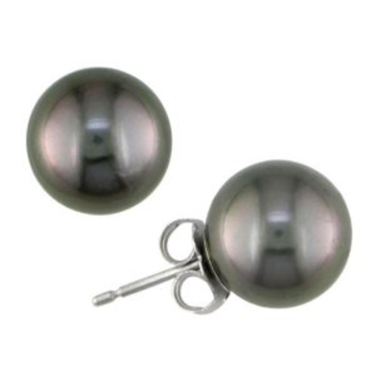 genuine black Tahitian pearl earrings