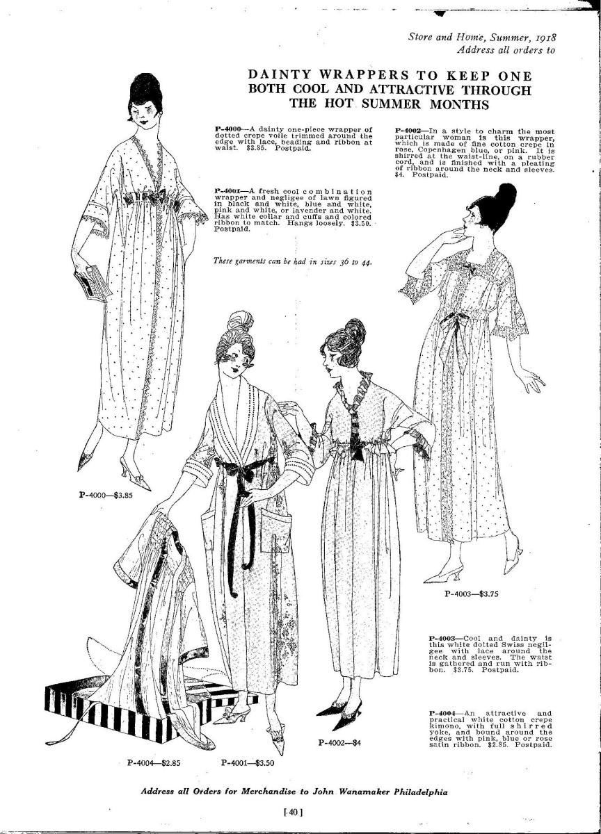 ladies wrappers 1918