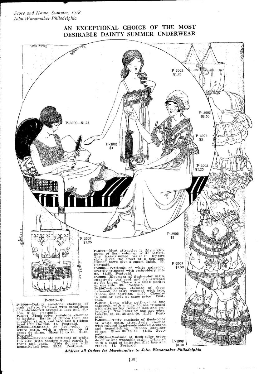 chemise and camisole 1918 catalog