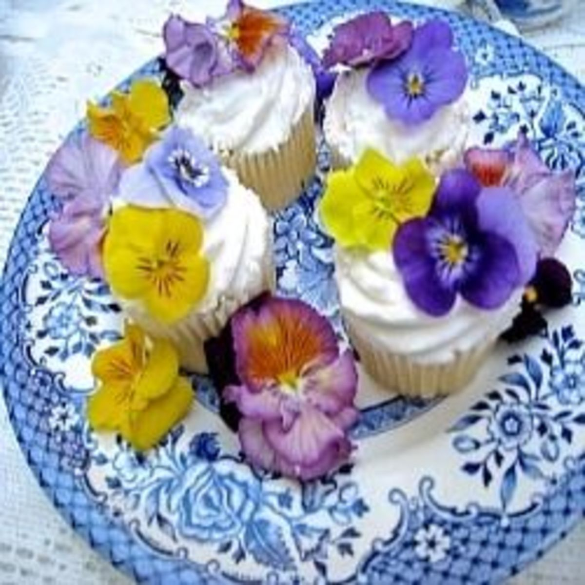 Cupcake Garnished with Pansies
