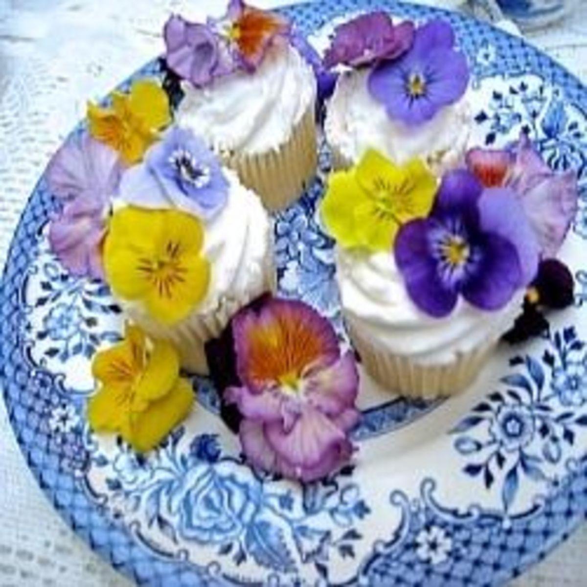 Cupcake Garnished with Pansies