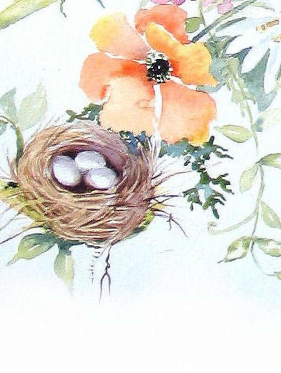I'm sort of in to bird nests.The eggs are a challelnge and take careful shading with light purple. Look at how many colors are in the flower, but still the white paper is showing through because you don't want it muddy.