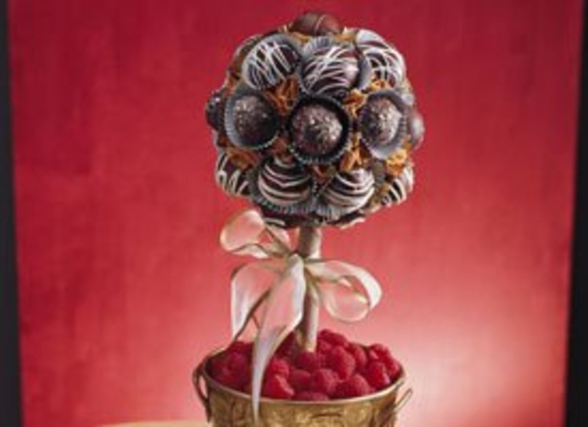 Did your mother ever say, Look with your eyes, not your fingers? Its next to impossible with this chocolate lovers centerpiece!