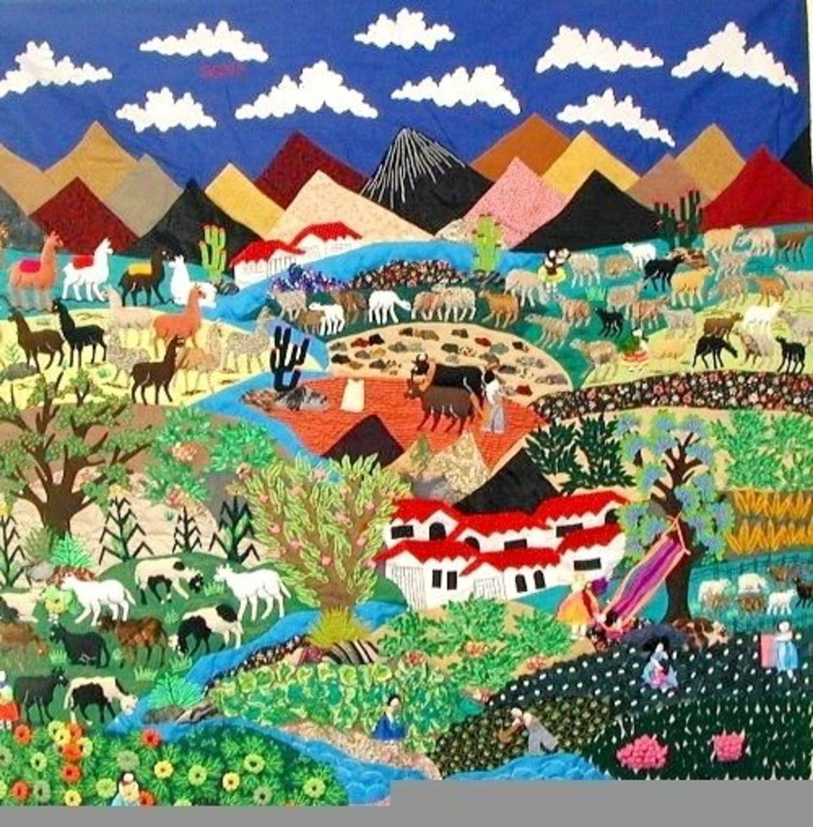 Rural farm scenes are popular, and frequently depict the iconic symbol of the Andes, the llama.