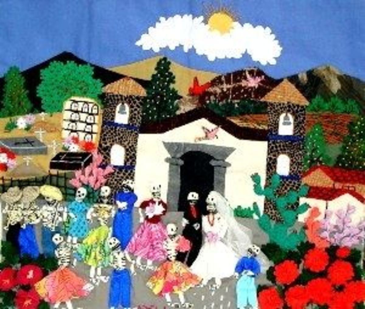 A village wedding is the subject of this arpillera