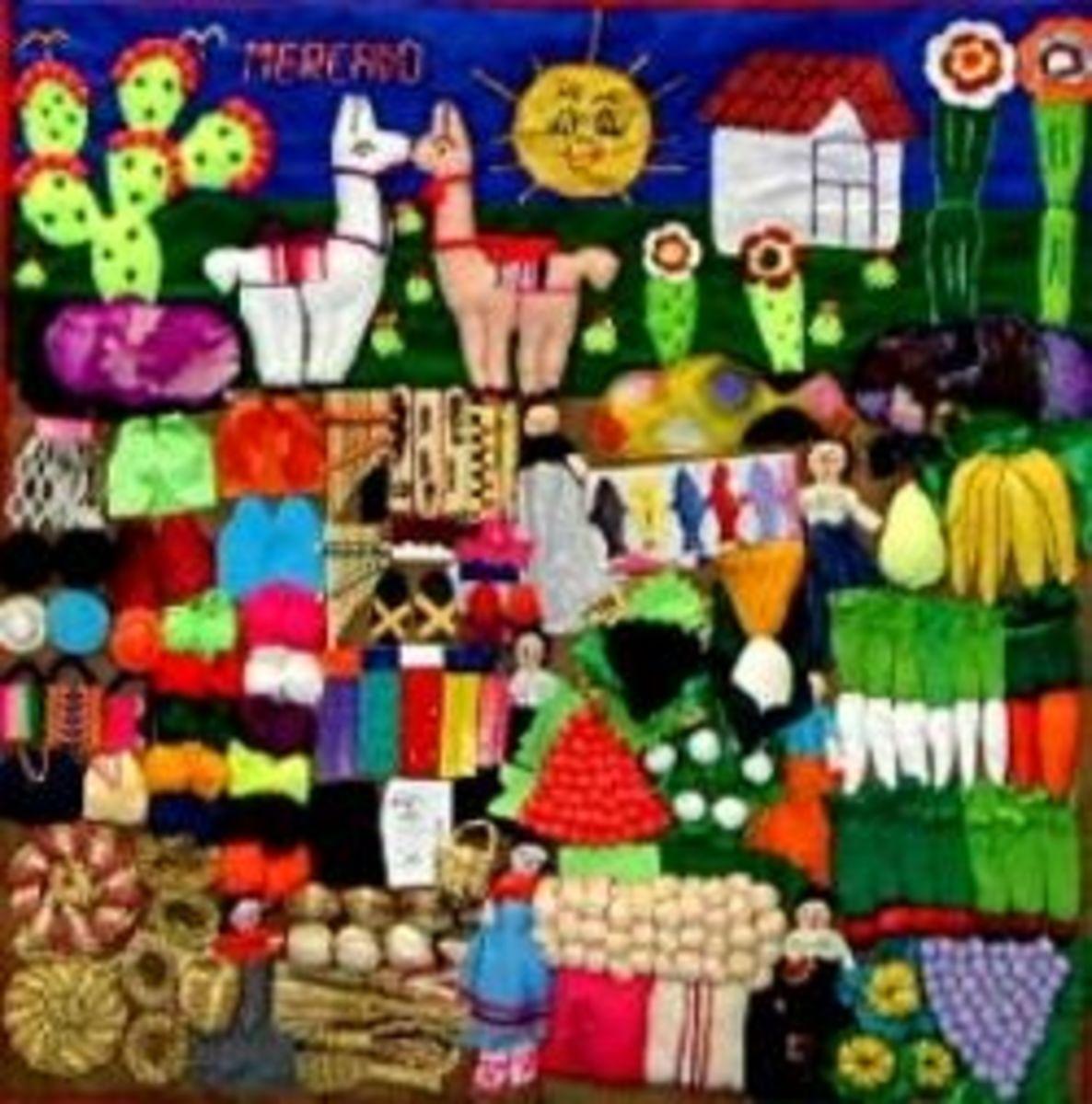Arpillera of a Market Scene