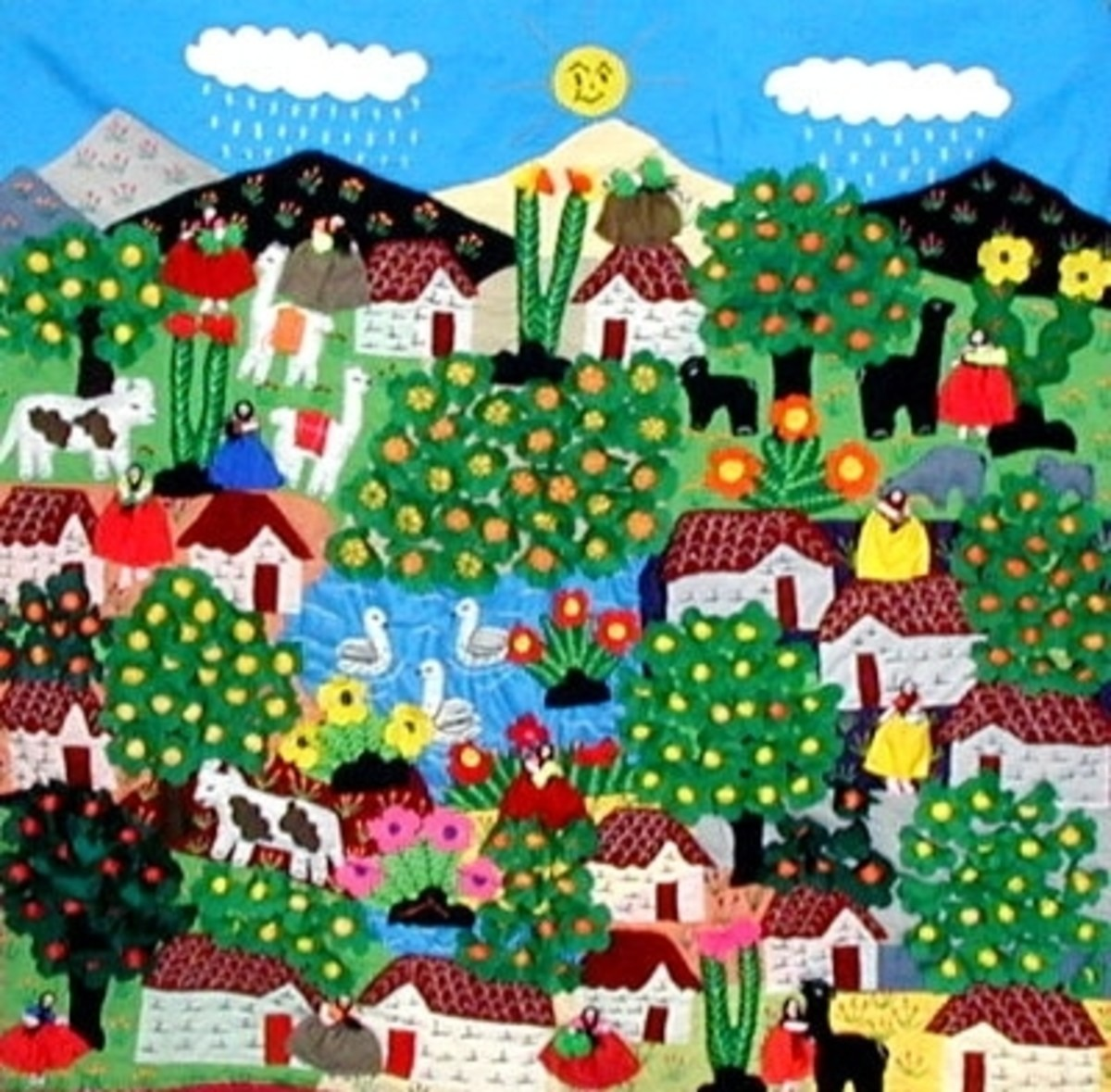 Many arpilleras depict the rural highlands that the women had to leave behind.
