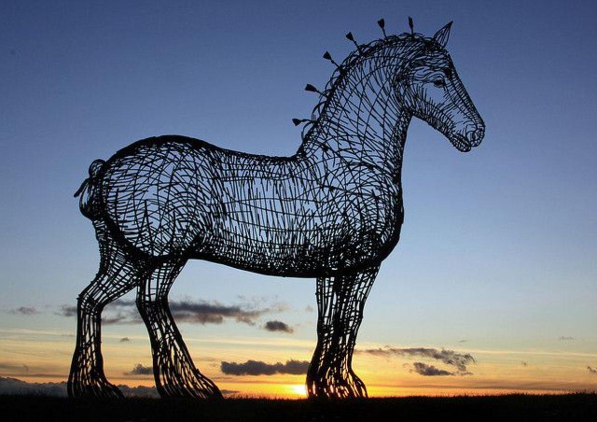 This impressive horse sculpture is found just off the west bound M8 motorway, Glasgow, Scotland.