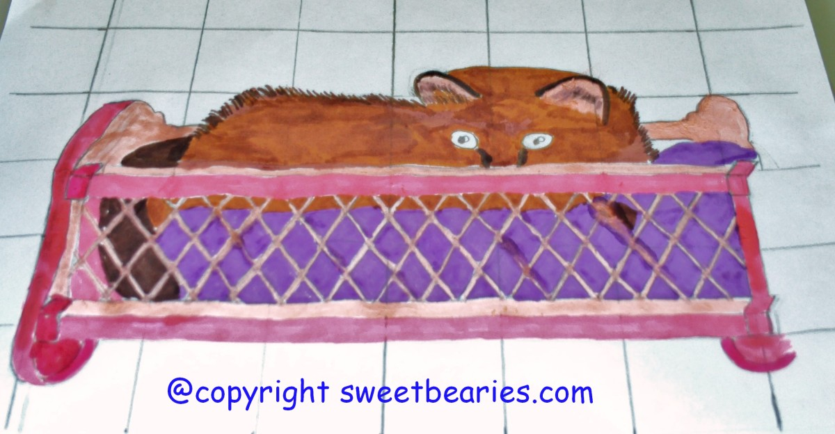 Here I finally completed coloring in Maxx' purple blanket, and his pink cradle.