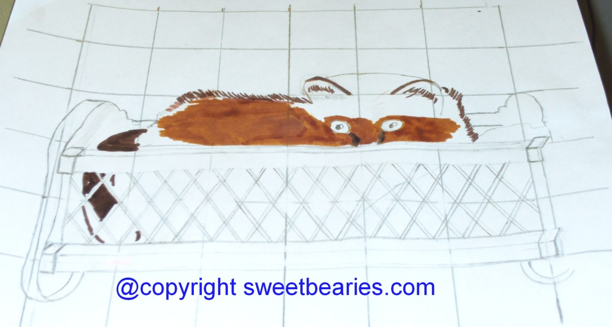 Adding more of the ochre color to Maxx's fur.  Markers are a good medium for covering up grid lines.