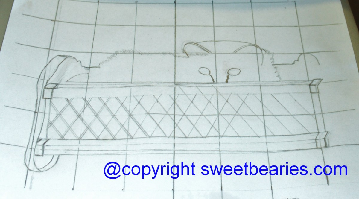 Here I began to sketch the diagonal bars on the doll cradle Maxx was sitting in.