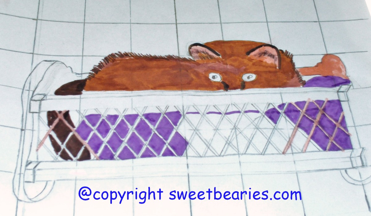 Here I am adding more of the purple color of Maxx's cradle.