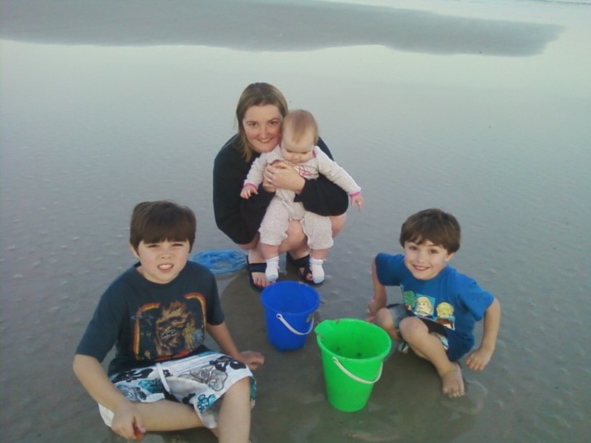 My youngest daughter and three of my grandchildren on Amelia Island, Florida.