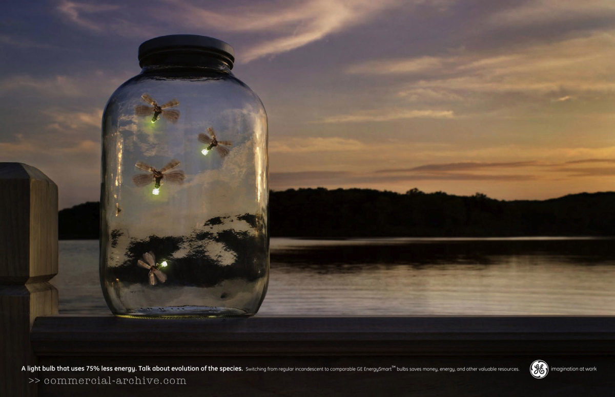 GE ad about efficiency of fire-flies