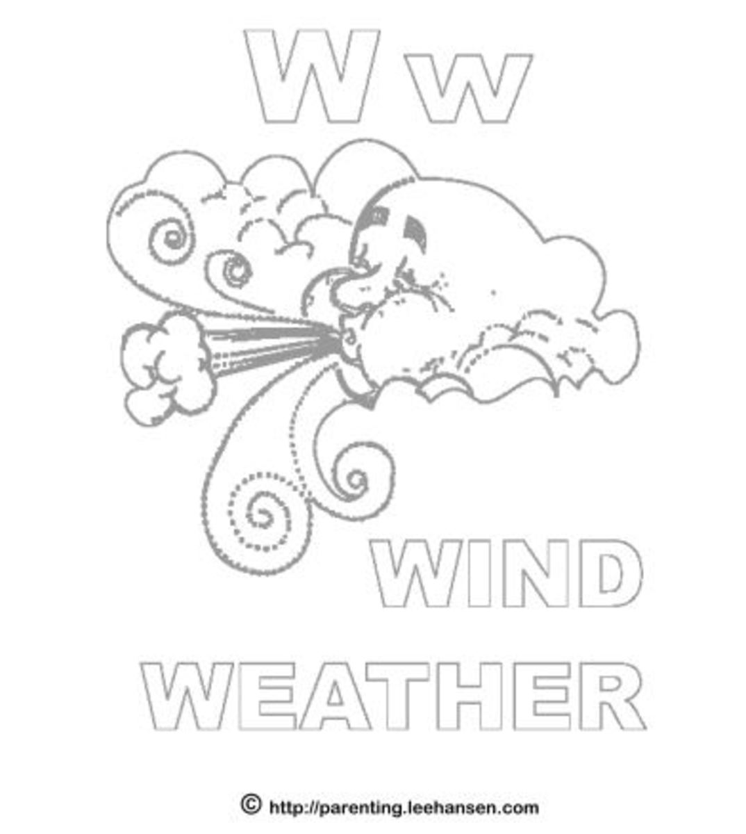Wind Weather W coloring page