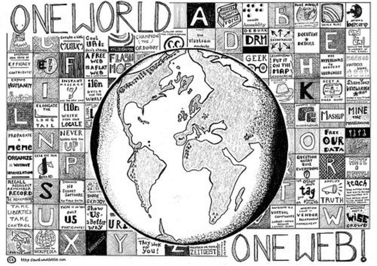 One World, One Web Earth Globe Art