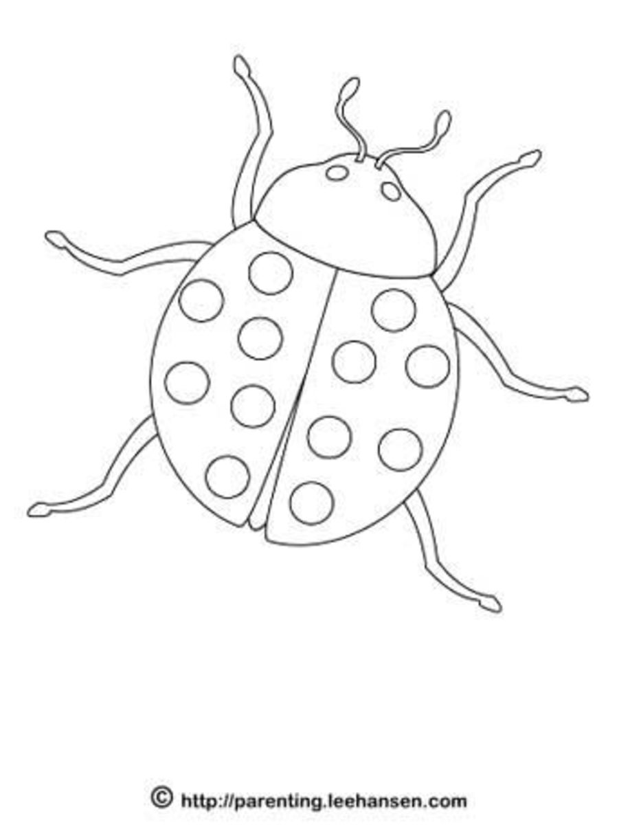 Earth Day lady bug coloring page