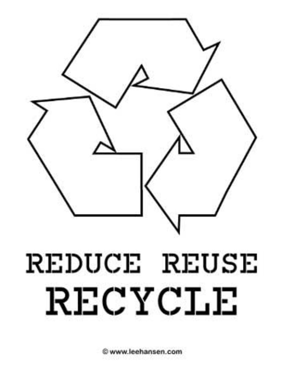 printable Earth Day recycle poster to color in