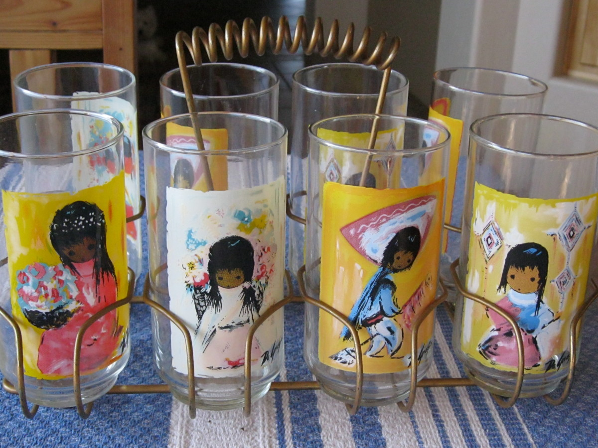 DeGrazia glasses, given away by the Arizona Bank in Tucson AZ c1980s