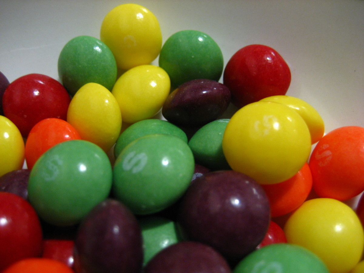 Skittles are yummy and colorful candies.